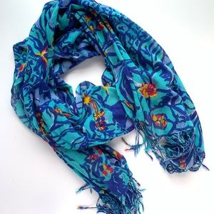 Lilly Pulitzer Blue Floral Pattern Scarf